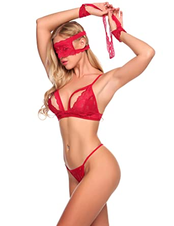 5ad342ce32 Avidlove Lingerie Four Piece Bra Lace Set for Women Babydoll Underwear with  Eyes Cover Dark Red