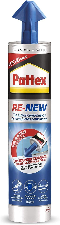 Pattex RE-NEW en cartucho, silicona blanca para sanitarios, blanqueador de juntas para baños, sellador universal impermeable con triple resistencia al moho, 1 x 280 ml