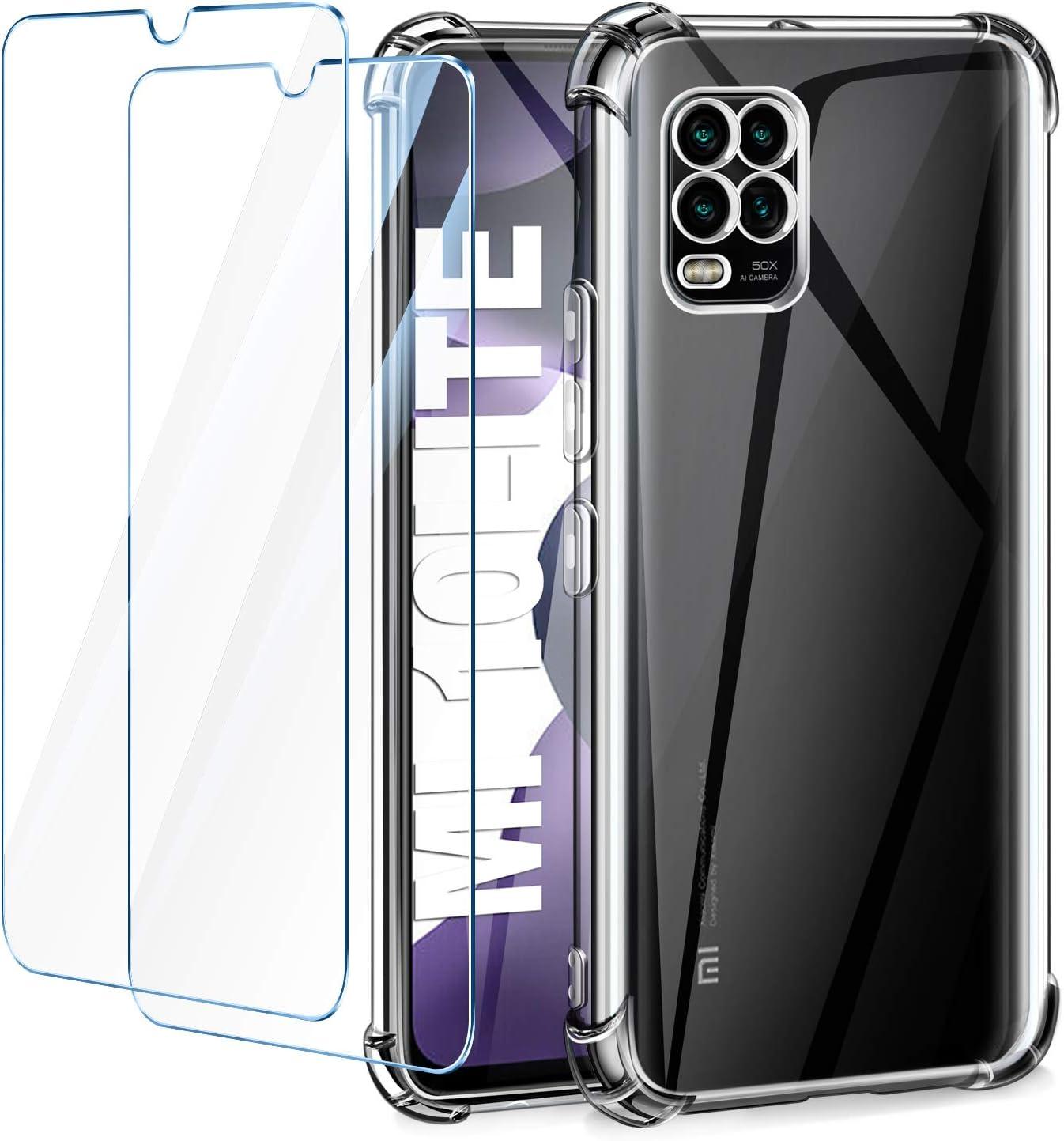 Leathlux Funda Xiaomi Mi 10 Lite 5G + [2 Pack] Cristal Templado Protector de Pantalla, Ultra Fina Silicona Transparente TPU Funda y Protector Airbag Anti-arañazos Carcasa Xiaomi Mi 10 Lite 5G 6.57
