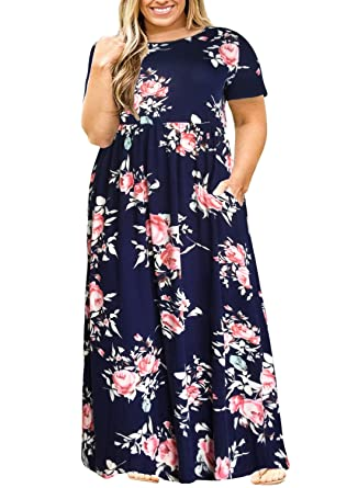 ec834a9648a Nemidor Women Short Sleeve Loose Plain Casual Plus Size Long Maxi Dress  with Pockets (143