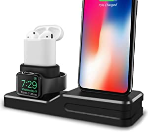 3 in 1 Premium Silicone Stand Compatible iPhone AirPods Apple Watch Charging Dock Station Holder, Compatible Apple Watch Series 4/3/2/1/AirPods, Compatible iPhone XS MAX/XR/X/8 Plus/7 Plus Black