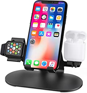 3 in 1 Aluminum Stand for Apple Watch Phone Holder : Charging Station Dock Charger Stand for iWatch Series 5/4/3/2/1,AirPods, iPad, iPhone 11/11 Pro/Xs/X Max/XR/X/8/8Plus/7/7 Plus /6S /6S Plus