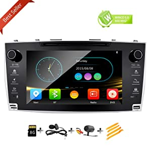 8 Inch Touch Screen Car Stereo GPS Navigation Removal Tool Kit Rear Camera Included for Toyota Camry 2007 2008 2009 2010 2011 in Dash Radio DVD CD Player Head Unit Receiver iPod Bluetooth USB SD