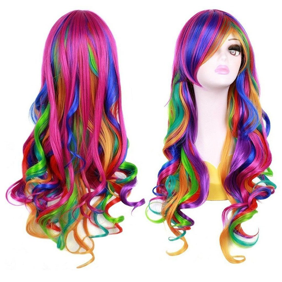 BERON 27 5 Women Girls Long Curly Wavy Rainbow Wig for Halloween Anime Cosplay Multi-color