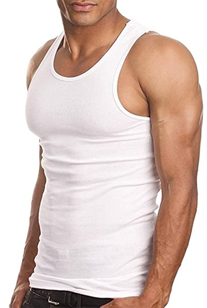 89f572c59c14e 3 PACK Men s Wife Beater A Shirt Muscle Tank Top Gym Work Out White Super  Thick