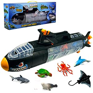 Aquatic Discovery Expedition Research & Rescue Submarine Toy with 6 Ocean Sea Animals~Underwater Boat Set for Kids
