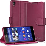 Sony Xperia Z3+ Wallet Case - VENA [vSuit] Draw Bench PU Leather Wallet Flip Cover with Stand and Card Slots for Sony Xperia Z3+ (Burgundy Red)
