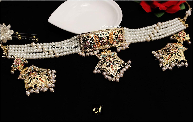 Glamorous Collection Jadau Bridal Navrattan Wedding Necklace Choker Punjabi Gold Plat Jewellery Set