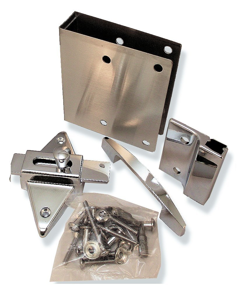 Fix It Latch Kit for Restroom Partitions - for 1'' Square Edge Doors - Outswing w/Pull