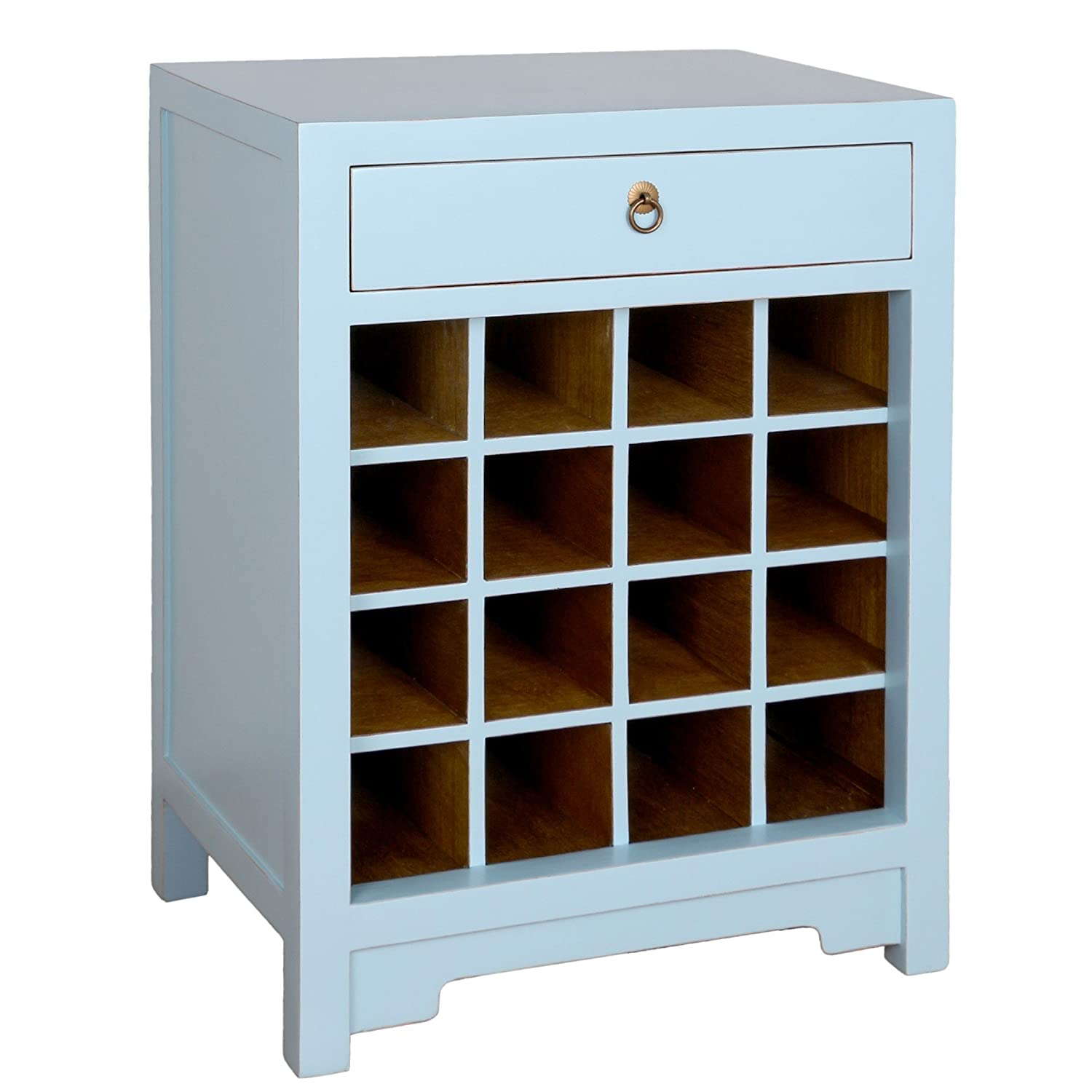 Porthos Home CB088A AQU Chauvet Wine Cabinet Aqua Antique Revival