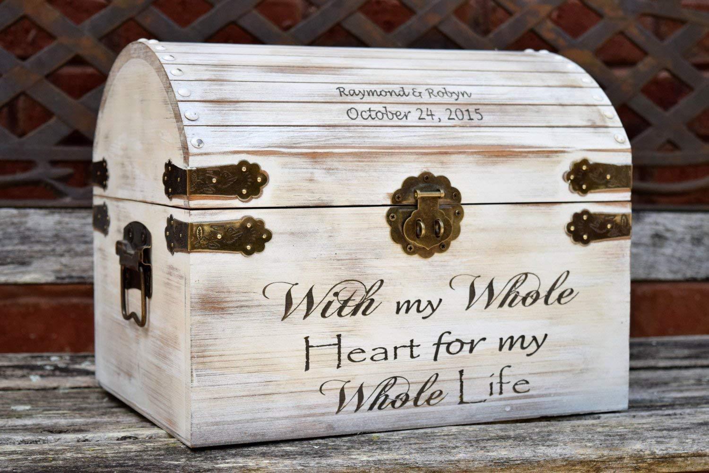 B0167GGTDM Distressed Wedding Card Box - Keepsake Chest - Card Box for Wedding - Personalized Wedding Card Holder - Rustic Wedding Decor 713DmoPMdIL