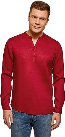oodji Ultra Hombre Camisa de Lino sin Cuello: Amazon.es: Ropa y accesorios