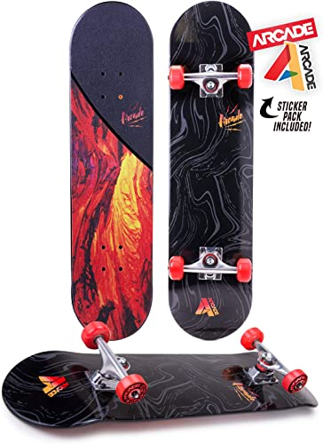 ARCADE Pro Skateboard 31 Standard Complete Skateboards Professional Complete Board w Concave – Skate Boards Great for Beginners, Adults, Teens, Youth Kids