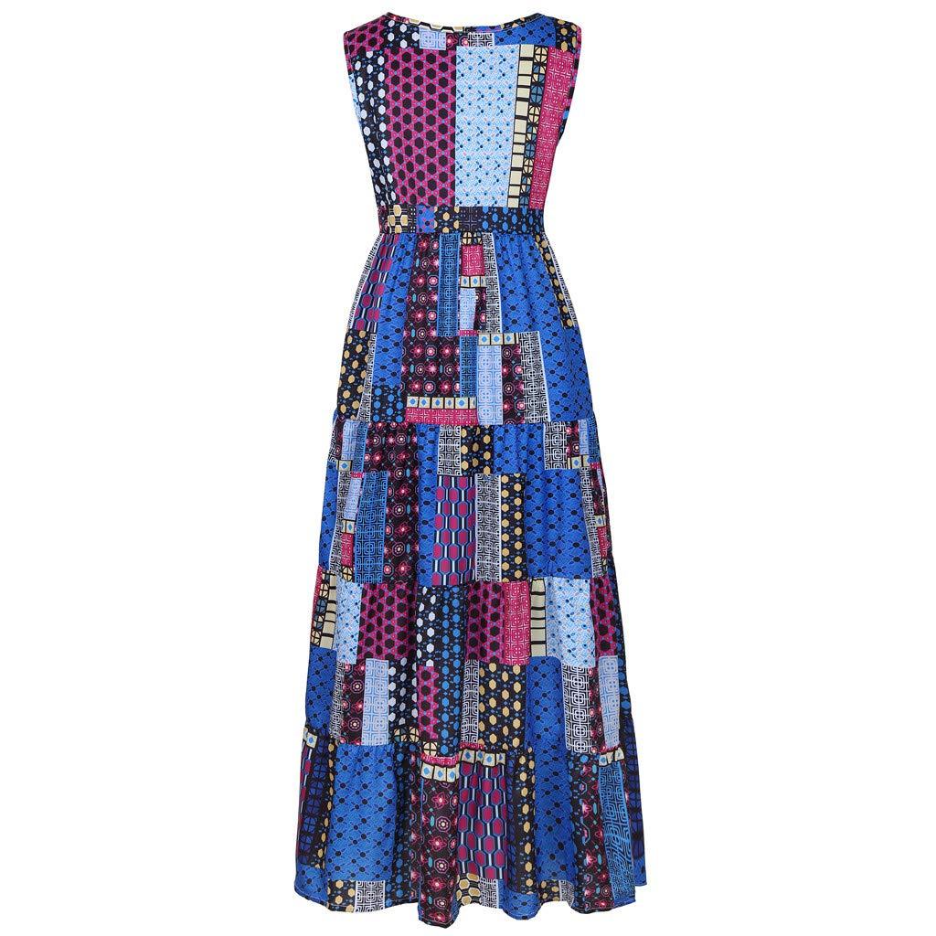 Womens Maxi Dress Vintage Printed Vintage Sleeveless Loose Sundress Ladies Retro Elegant O-Neck Long Dress for Party Size M-4XL