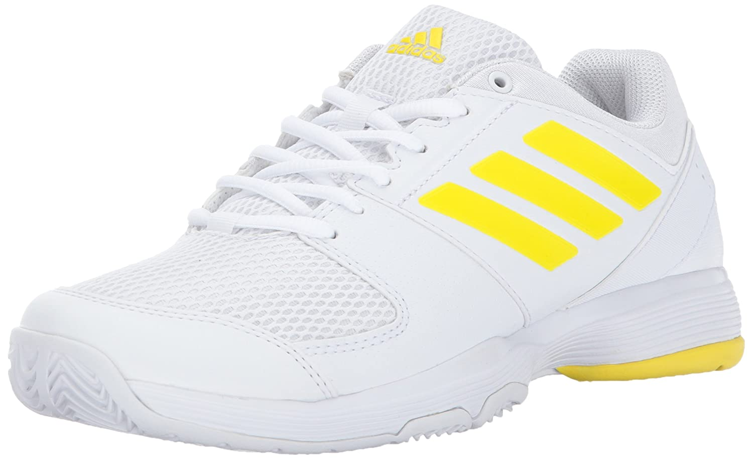 adidas Women's Barricade Court Tennis Shoes B01NAIXGB6 9.5 M US|White/Lemon Peel/White