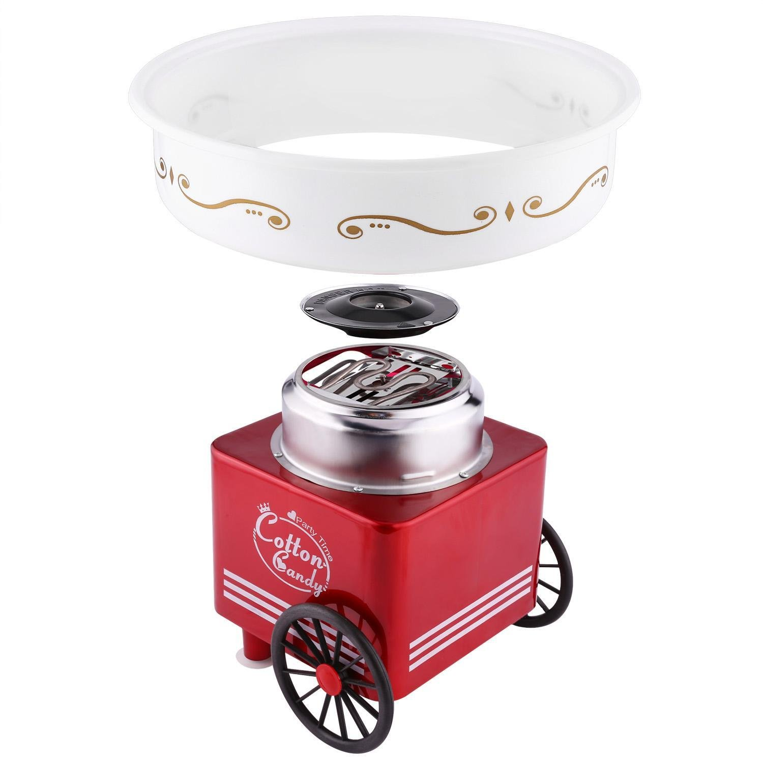 Utheing Cotton Candy Machine, Stainless Steel Safe Red Cotton Candy Maker for Kids