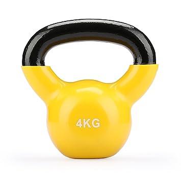 Fithalt Kettlebell Oscilante Pesas Rusas de Hierro Fundido con Revestimiento de Vinilo para el Entrenamiento de Fuerza Mancuerna para Musculación (Amarillo ...