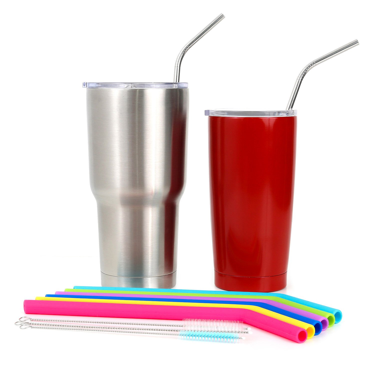 Big Silicone Straws for 30 oz Tumbler Yeti/Rtic Complete Bundle - Reusable Silicone Straws Set of 6 - Stainless Steel Straws Extra Long - Brushes and Storage Pouch Included by Kitchen Up (Image #6)
