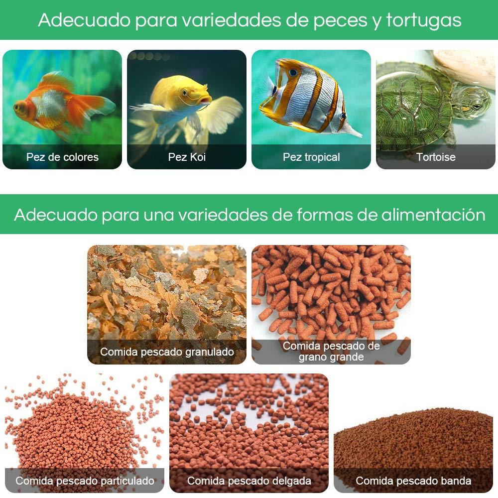 zacro Comedero de Peces Automáticos, Alimentador de Peces con Cargador USB se Sirve para Acuario, Pecera, Dispensador de Comida para Peces: Amazon.es: ...