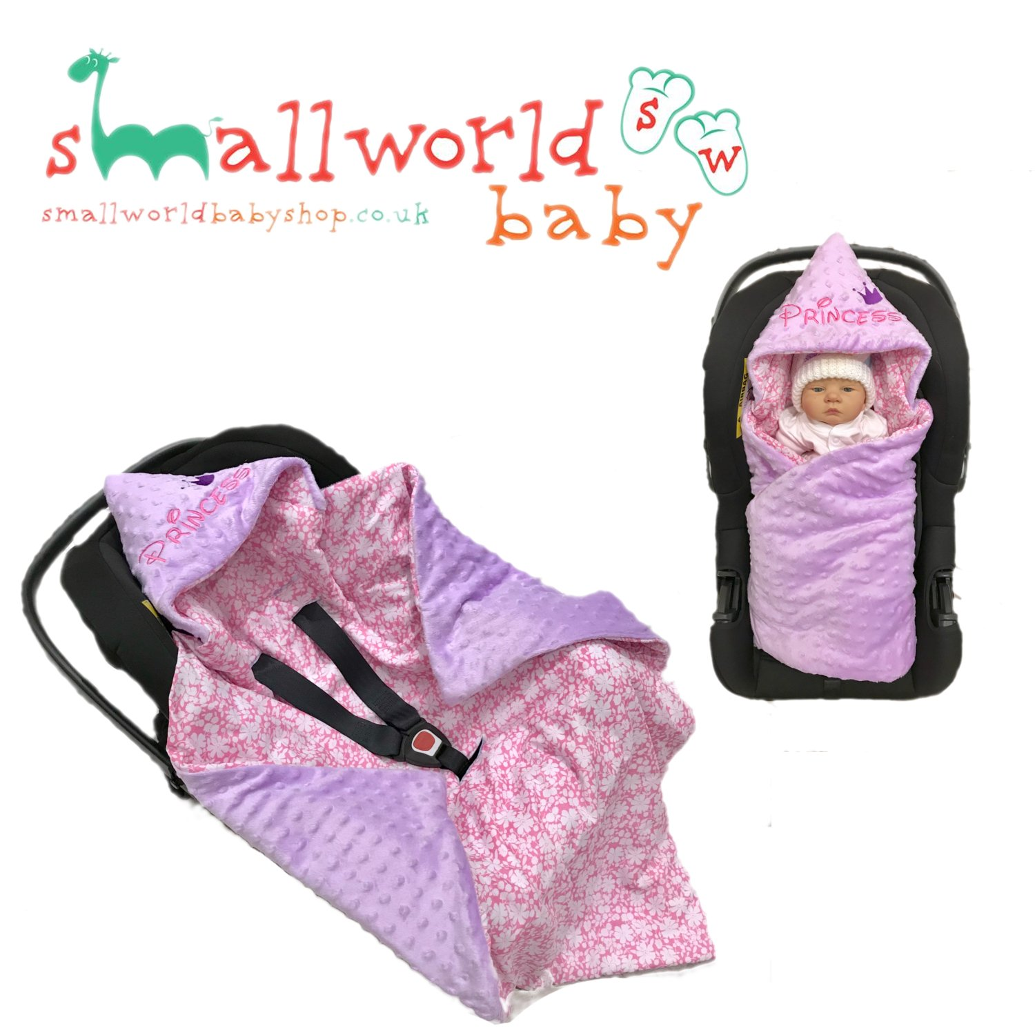 Baby CAR SEAT Swaddle WRAP Personalised Blanket Sleeping Bag Universal Boys Girls (Next Day Dispatch) Small World Baby Shop