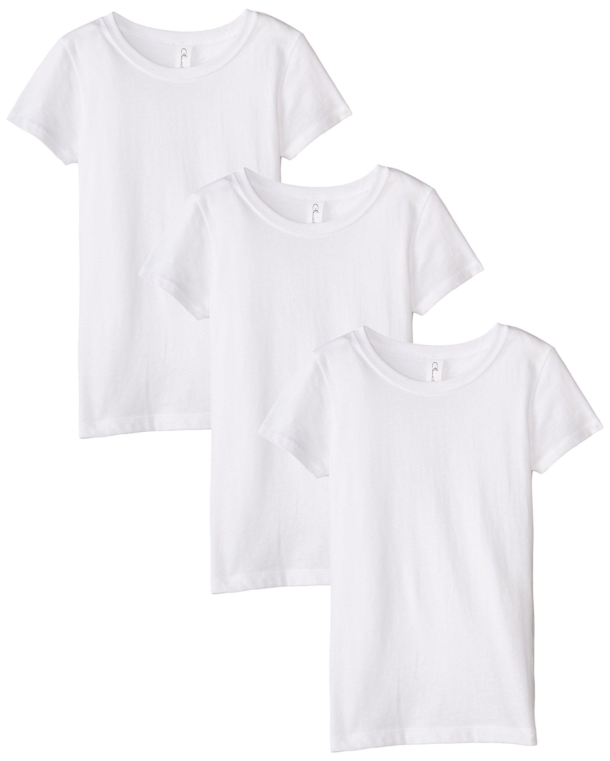 Clementine Big Girls' Everyday Crewneck Tee 3-Pack, White, Large