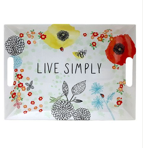 "Celebrate Spring Together ""Live Simply"" Floral Serving Tray"