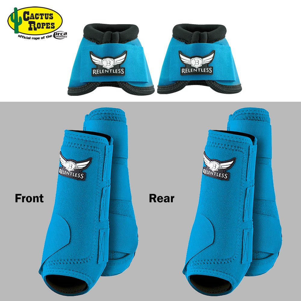 CACTUS ROPES MED Turquoise Relentless Trevor Brazile Front Rear Sport Bell Boot 6 Pack Horse