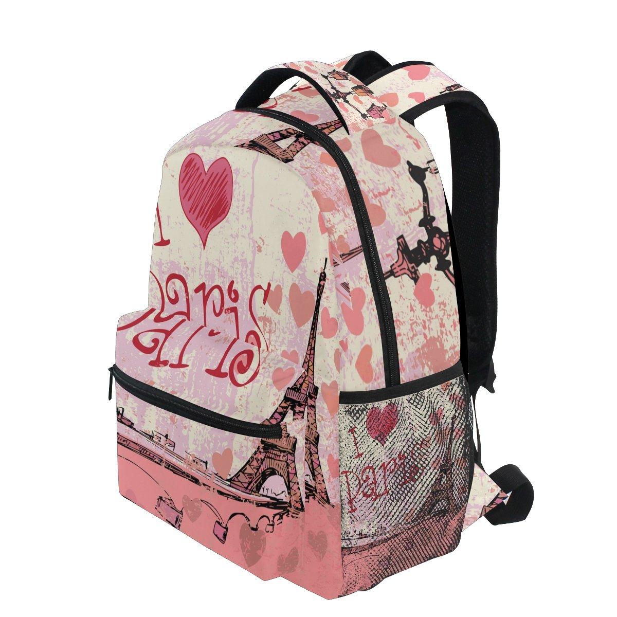 384987eca04e Amazon.com: TropicalLife Eiffel Tower I Love Paris Backpacks School ...