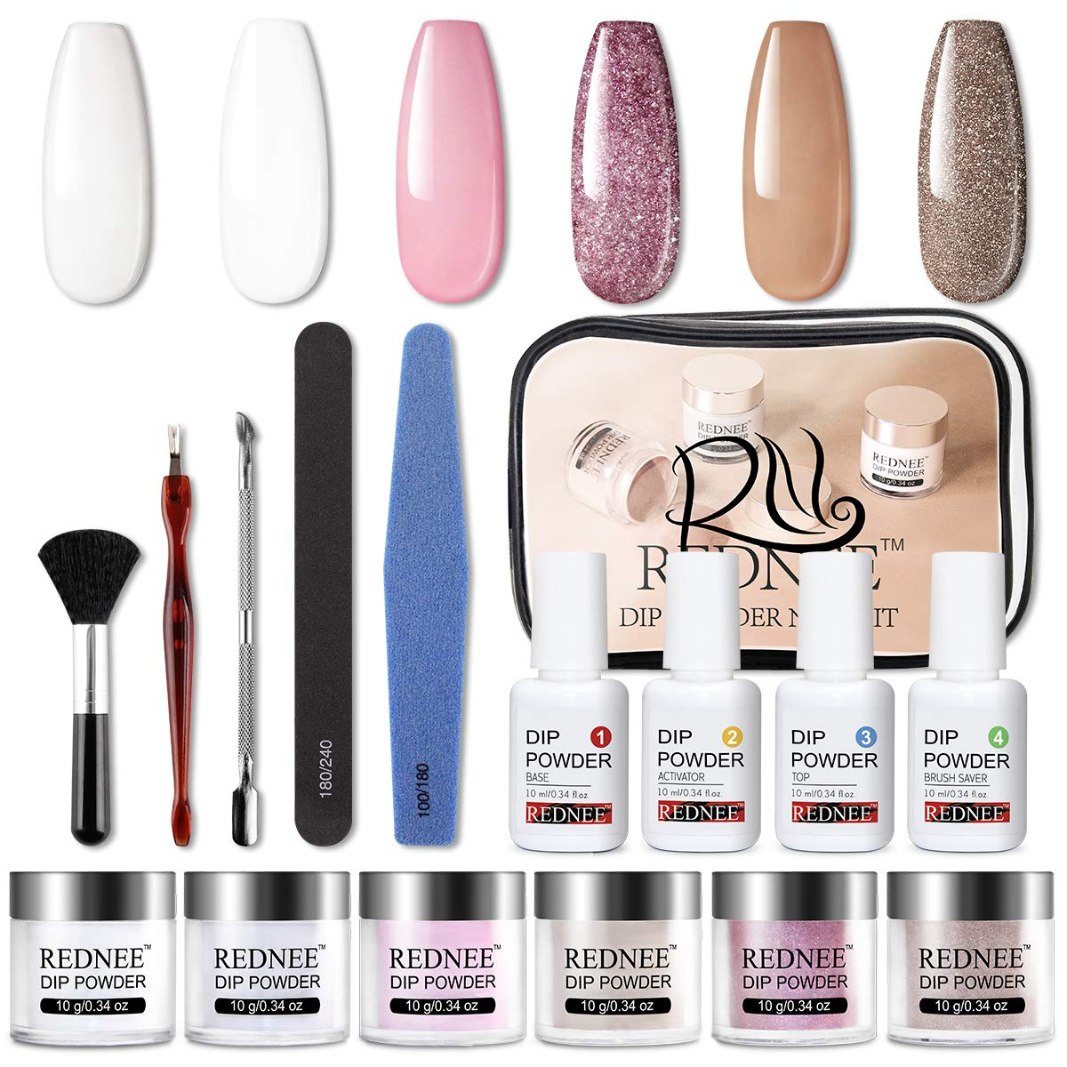 REDNEE 16pcs Dip Powder Nail Kit Starter 6 Colors with Base Top Coat Activator Tools for French Nail Style RE01