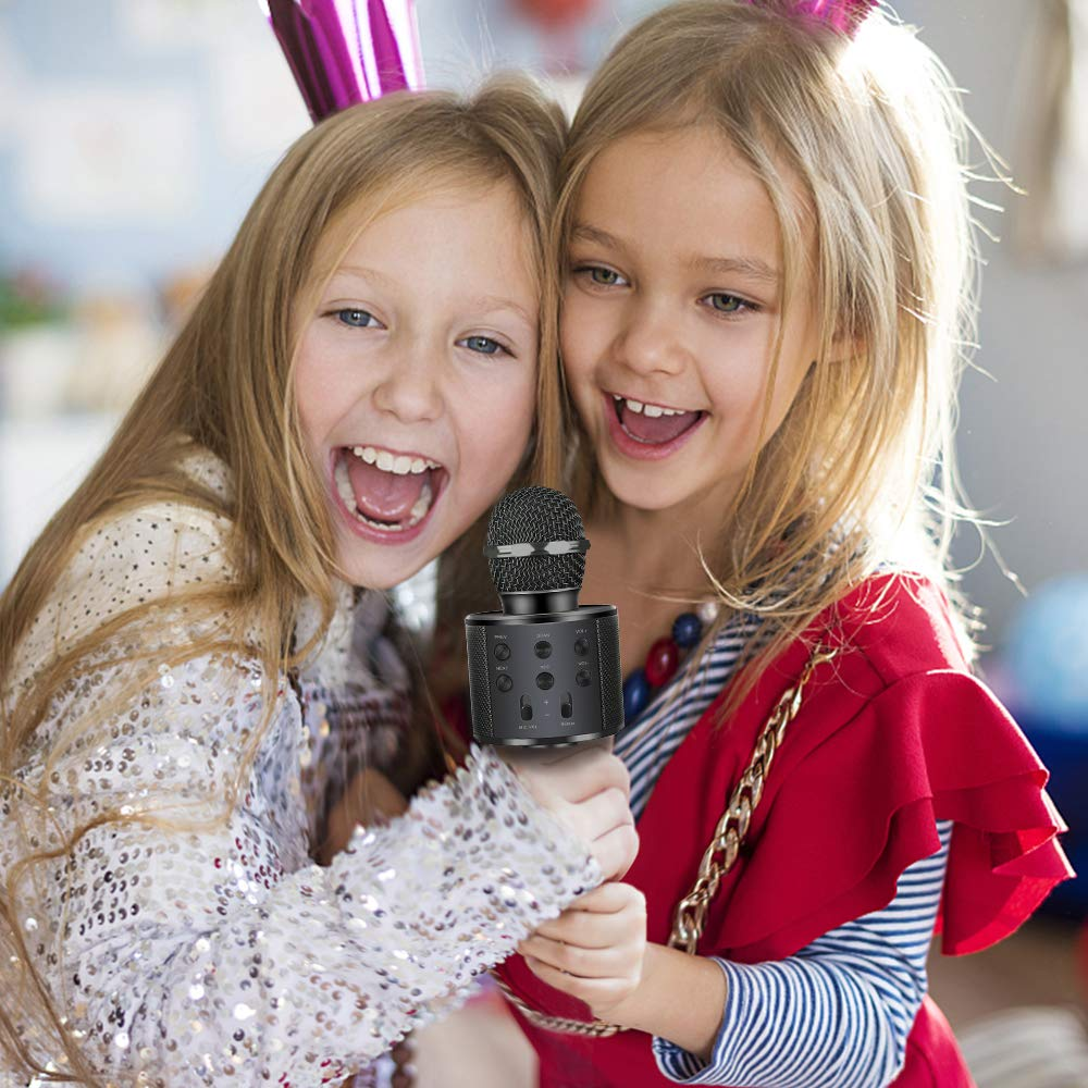 Microphone for Kids, Wireless Portable Handheld Karaoke Microphone Bluetooth Kids Karaoke Microphone Best Fun Gifts for 5-14 Year Old Boys Girls Black DMHK5 by LET'S GO! (Image #4)