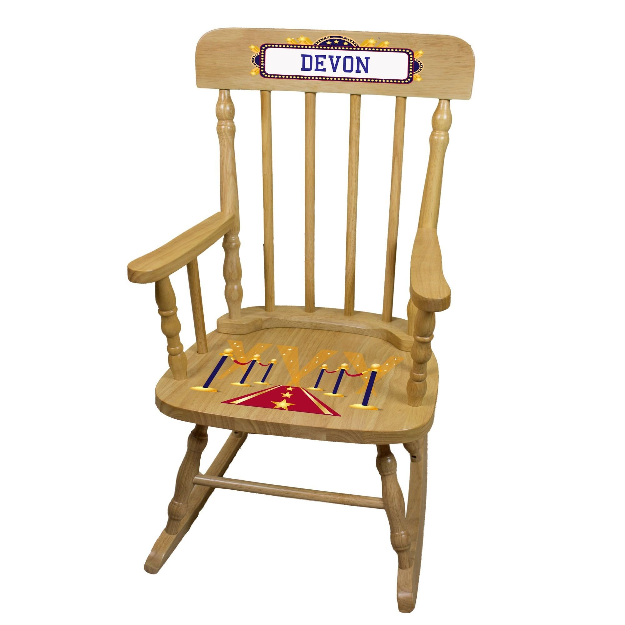 MyBambino Personalized A Star is Born blue Natural Wooden Childrens Rocking Chair