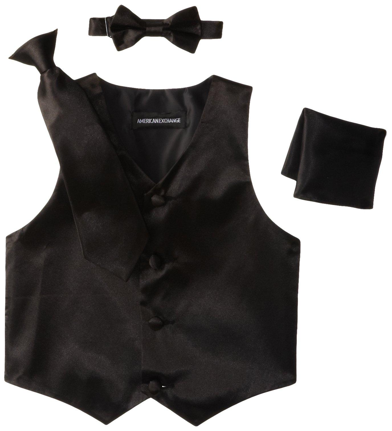 American Exchange Little Boys' Toddler Satin 4 Piece Vest Set, Black, 2T