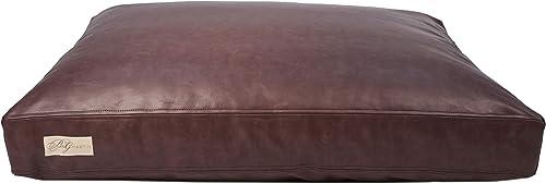 Faux Leather Dog Bed Foam Faux Down Cushion Insert, Dark Brown