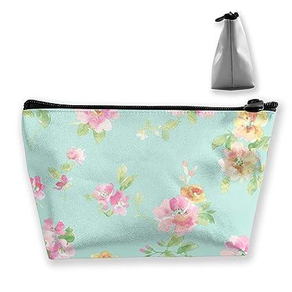 1c187fc987c7 Amazon.com: TR2YU7YT Aqua Floral Toiletry Bag Multifunction Cosmetic ...
