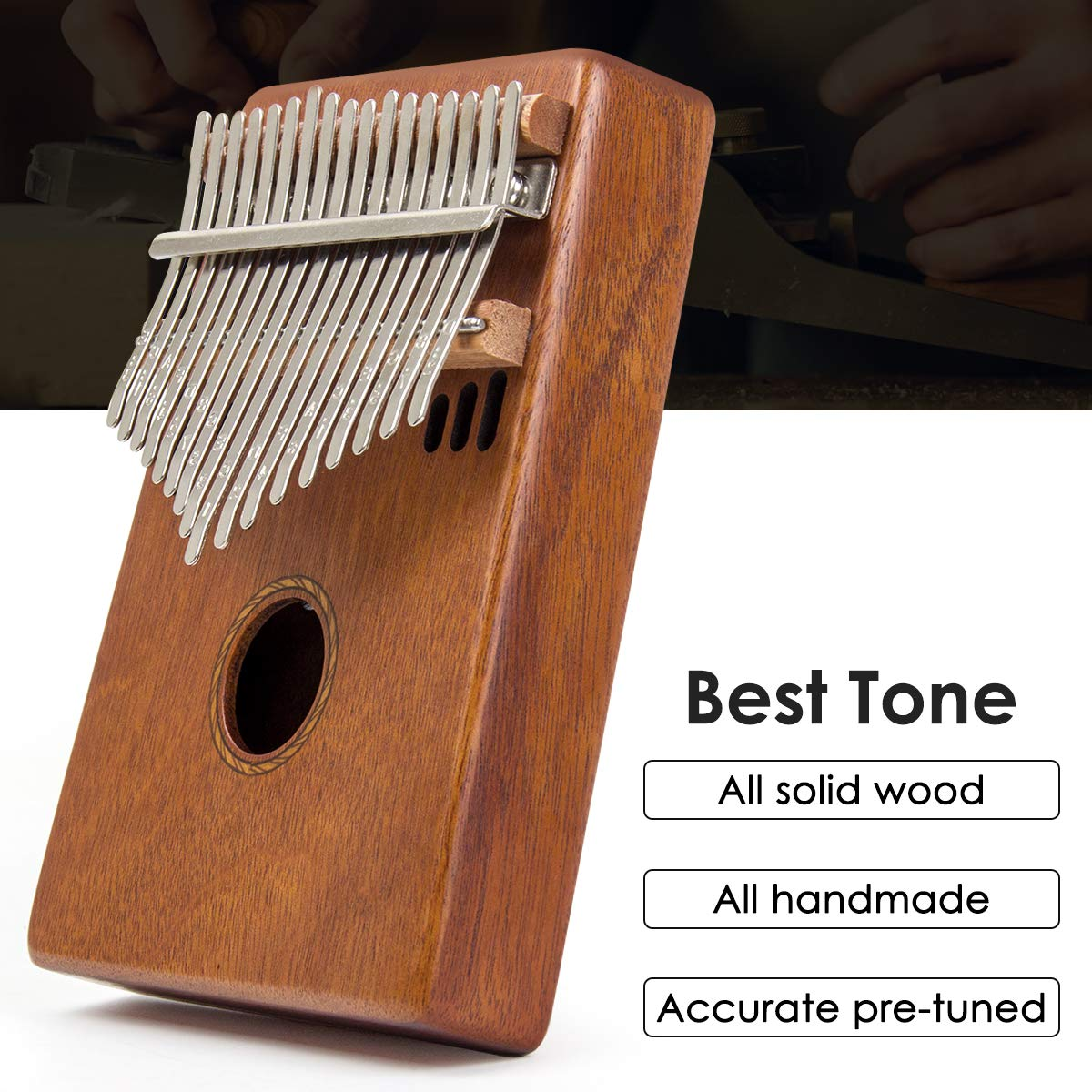 Kalimba 17 Key Finger Piano Marib Mahogany with Padded Gig Bag Tuner Hammer By Kmise by Kmise (Image #2)