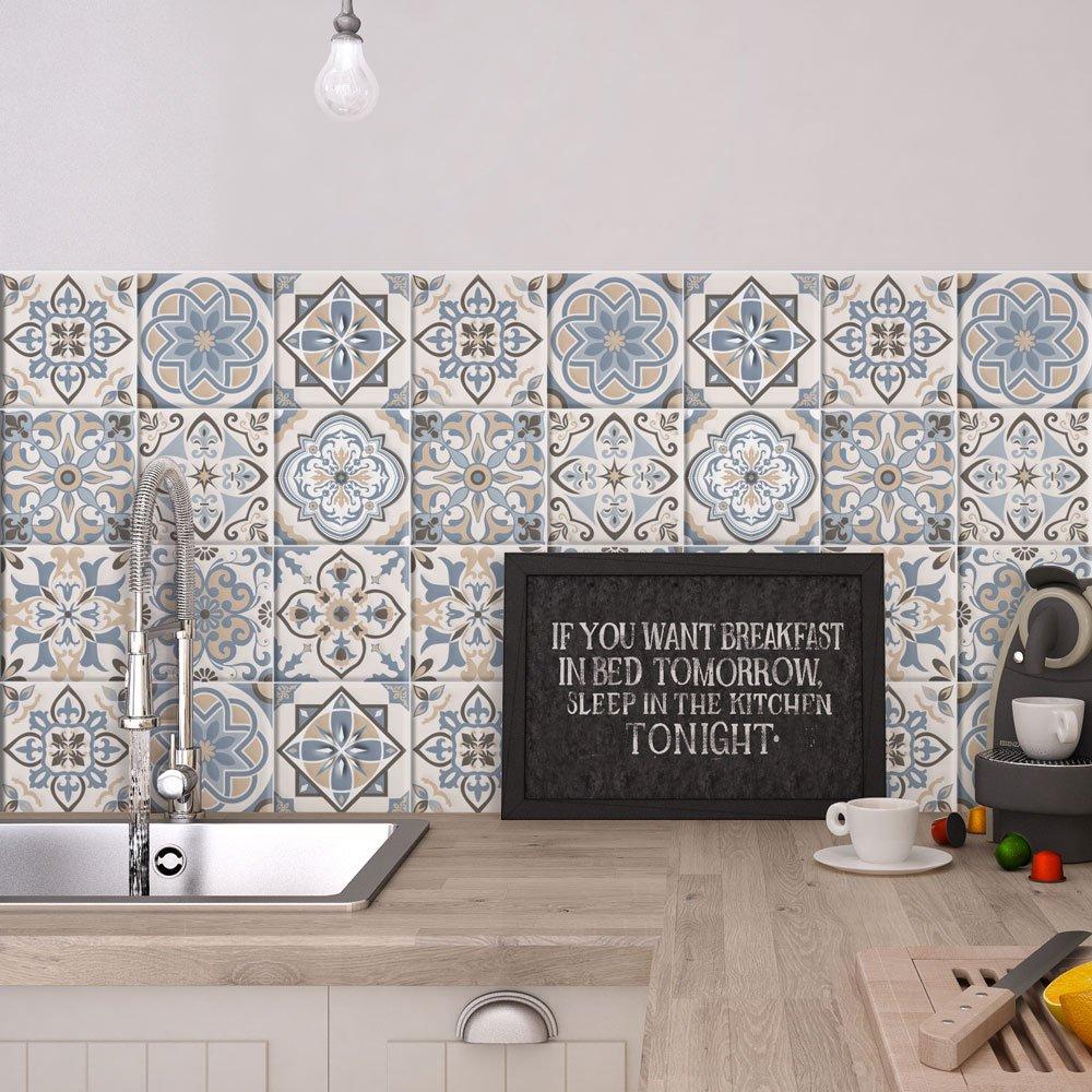 (54 Pieces) carrelage adhésif 10x10 cm - PS00023 - Firenze - Adhésive décorative à Carreaux pour Salle de Bains et Cuisine Stickers carrelage - Collage des tuiles adhésives wall art