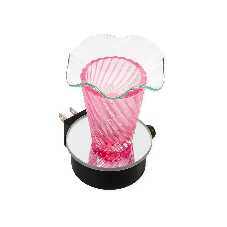 ピンク3 x 4ガラス電気壁プラグインオイルBurner withディマースイッチ B079GCJFL1
