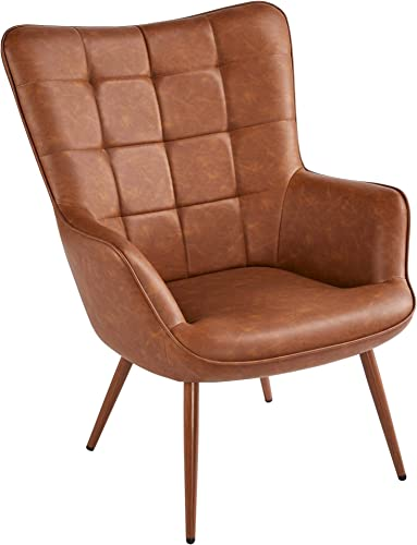 Yaheetech Living Room Chair Contemporary Faux Leather Chair Biscuit Tufted Wingback Accent Chair