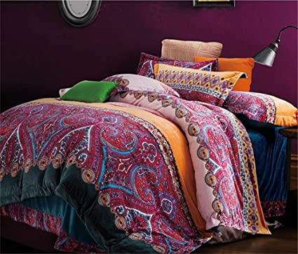 bedding thicken orange cotton in designs size king comforter bohemian sets set duvet