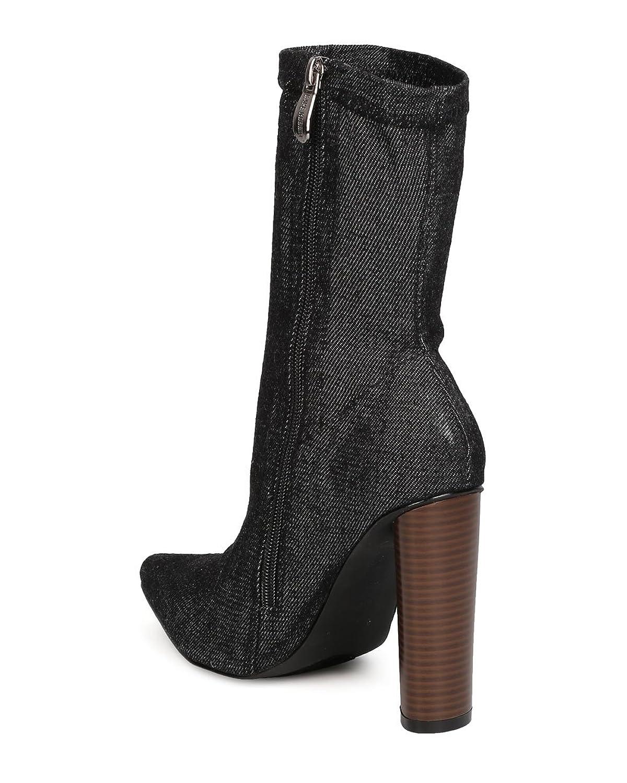 GB02 Women Denim Mid-Calf Pointy Toe Chunky Heel Boot