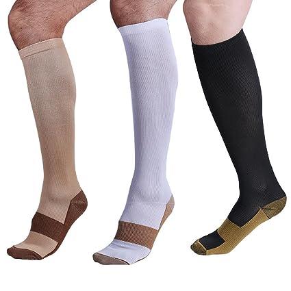 Calcetines Larga de compresión, blancos (38 – 41) para mujer y hombre.