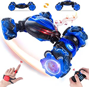GILI Gesture Sensing Rc Stunt Car, 2.4GHZ 4WD Double Sided Transform Vehicle with Music, Remote Control Truck for Boys 8-12 (Two Rechargable Batteries) Gift for 4, 5, 6, 7, 8 Kids