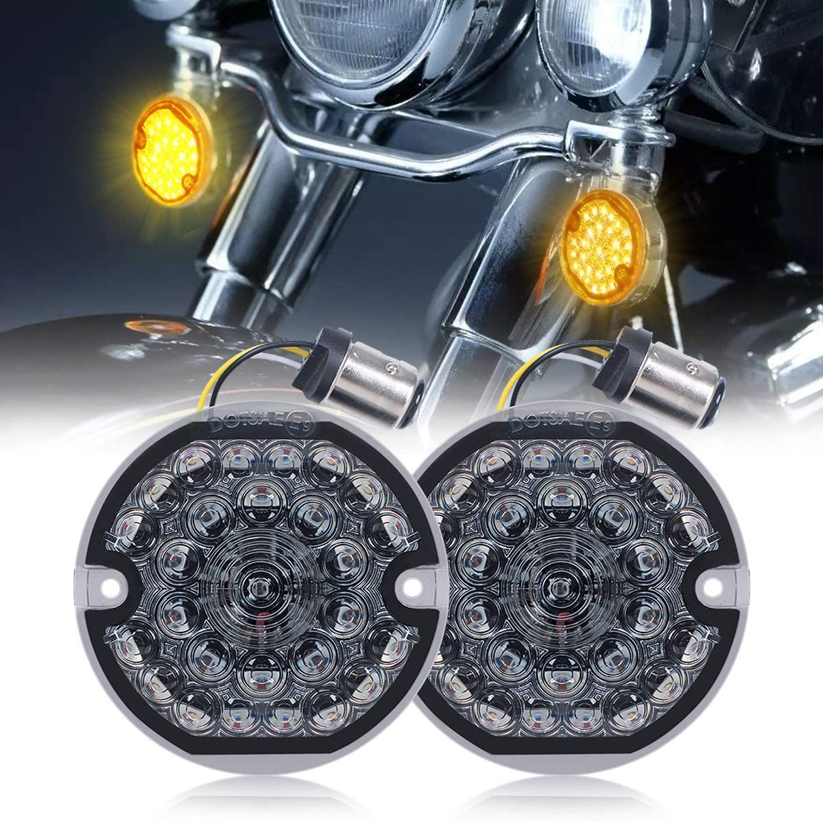 2 PCS Smoke Turn Signal Light Lens Cover 3 1//4 Touring OEM Flat Smoked Front Rear Lense Kit for Harley Touring Models