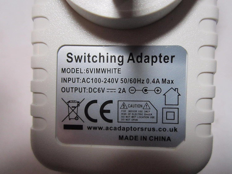 White 6V 1A 1000mA AC-DC Adaptor Power Supply Charger for 600mA//500mA//400mA