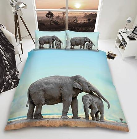 Elephant Family Duvet Quilt Cover Grey Reversible 3D Bedding SINGLE DOUBLE KING