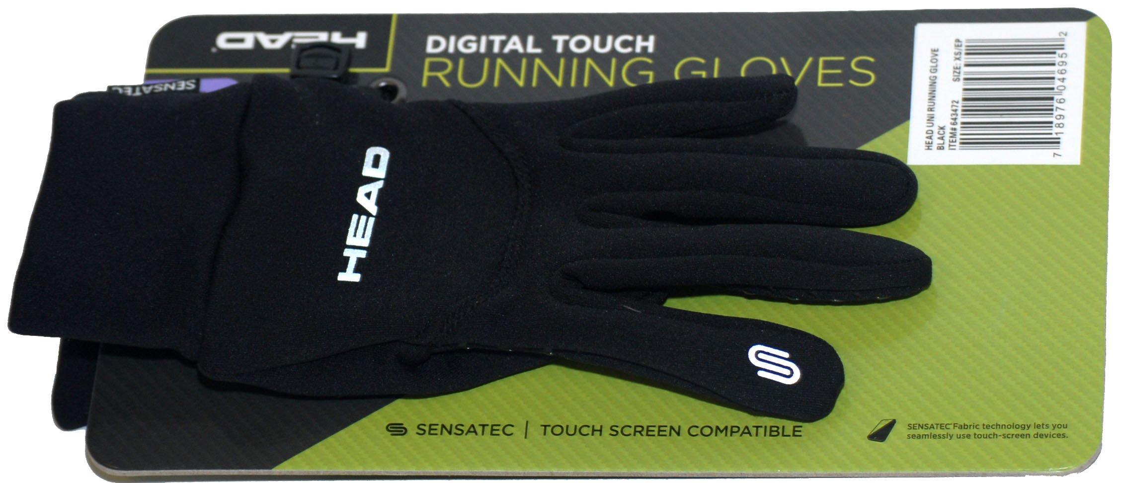 HEAD Multi-Sport Running Gloves with SENSATEC-Black (Small)