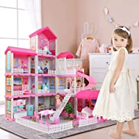 Temi Dollhouse Dreamhouse Building Toys Figure w/ Furniture, Accessories, Movable...