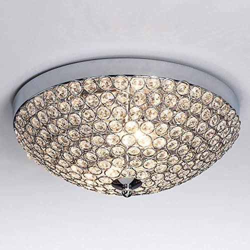 SOTTAE Elegant 2 Lights Crystal Cental Shade Chrome Finish Bedroom Living Room Hallway Kids Room Modern Crystal Chandelier Ceiling Light, Ceiling Chandelier Size 11.8 14 Size Bead
