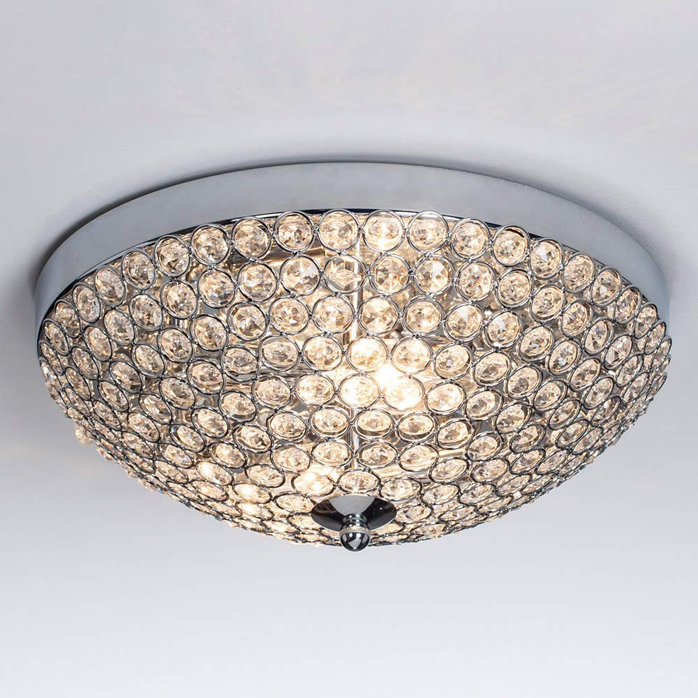 SOTTAE Elegant 2 Lights Crystal Cental Shade Chrome Finish Bedroom Living Room Hallway Kids Room Modern Crystal Chandelier Ceiling Light, Ceiling Chandelier Size 11.8''(14# Size Bead)
