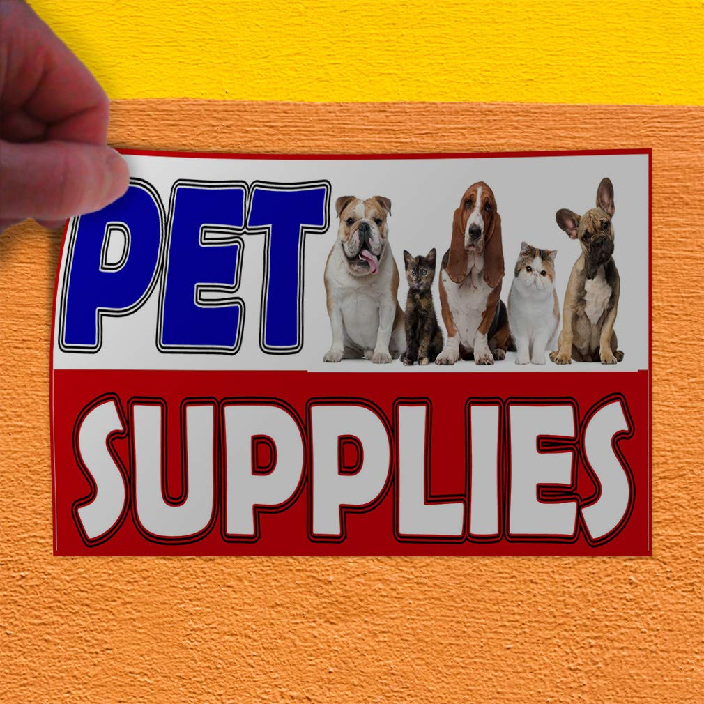 Decal Sticker Multiple Sizes Pet Supplies White Red Blue Business Pet Supplies Signs Outdoor Store Sign White Set of 2 52inx34in